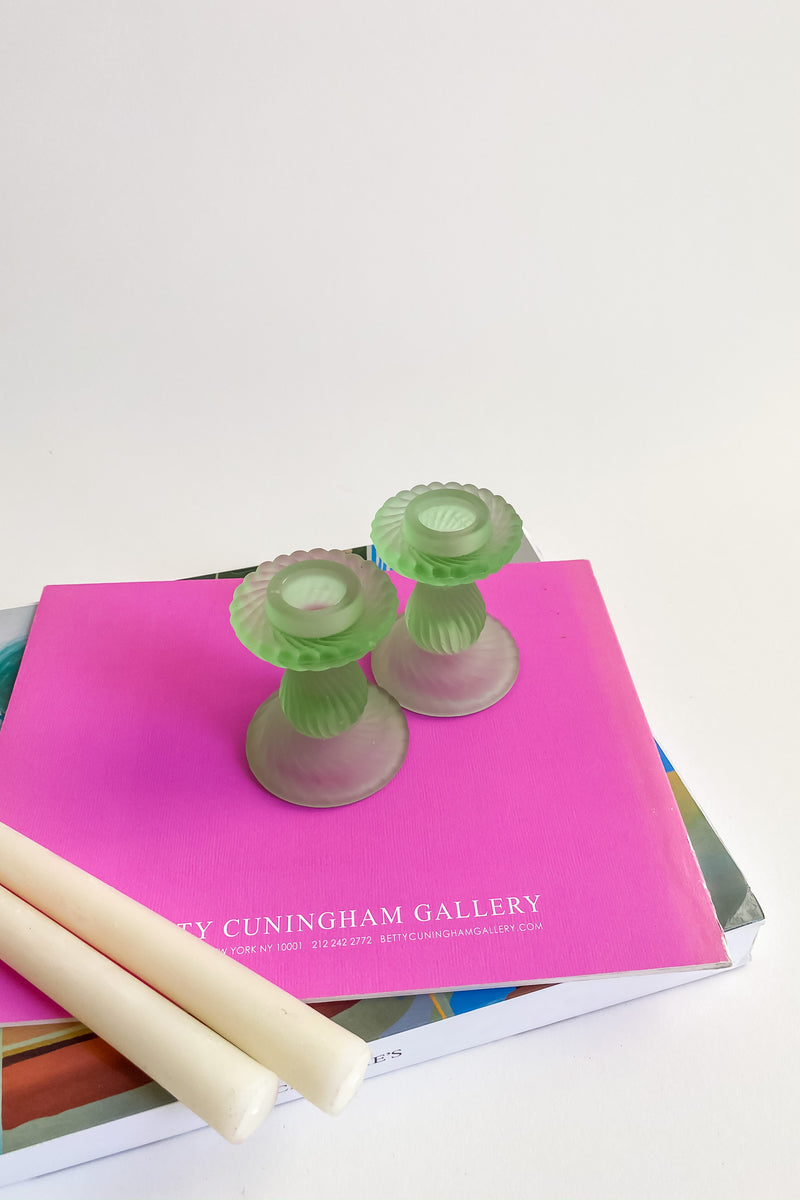 Mint Satin Glass Candle Holders