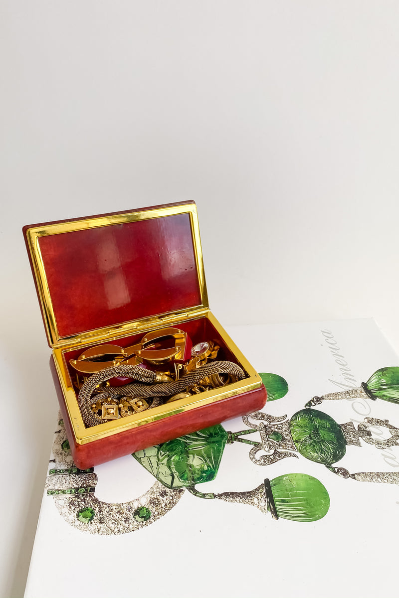 Amber Red Alabaster Jewelry Box