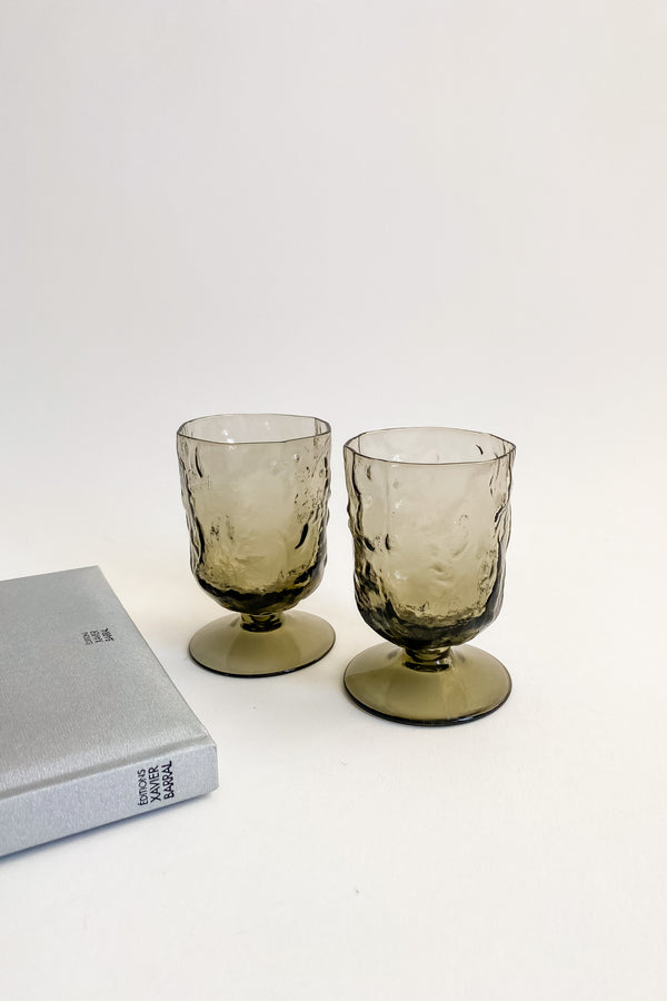 Smoky Grey Textured Glass Goblets
