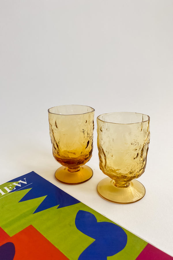 Amber Textured Glass Goblets