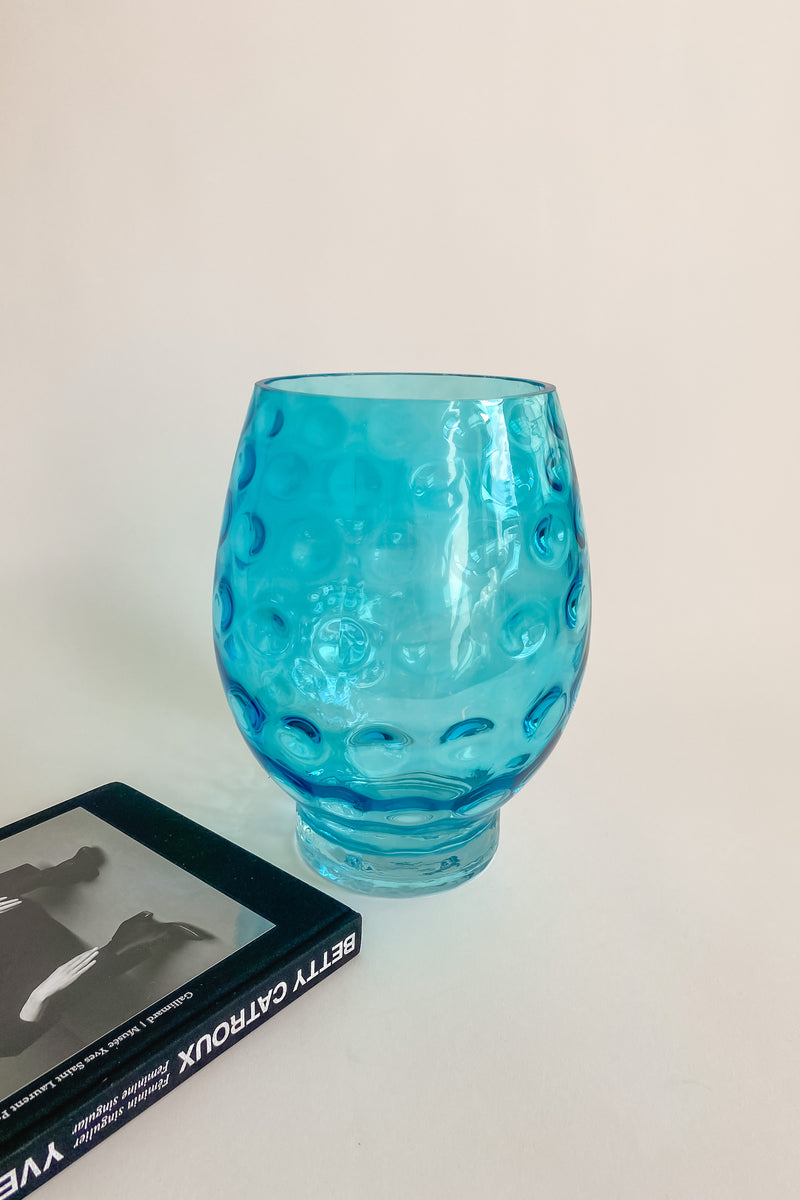 Large Aqua Dimpled Glass Vase