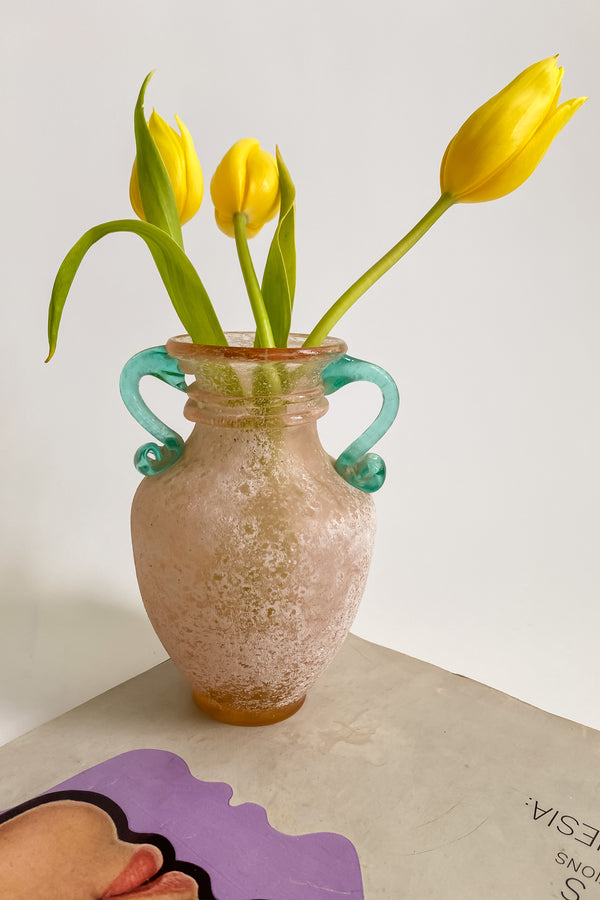 Frosted Venetian Studio Glass Vase