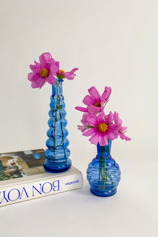 Blue Ribbed Bud Vase