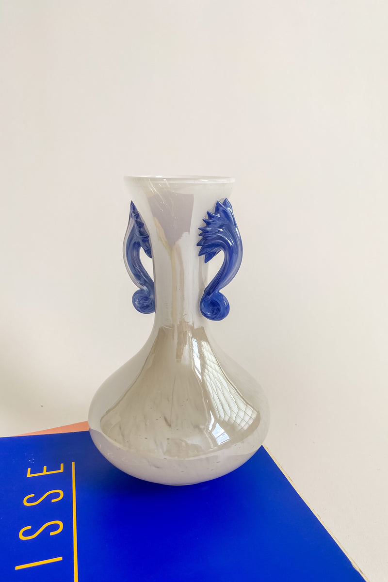Murano Opalescent Blue Handle Vase