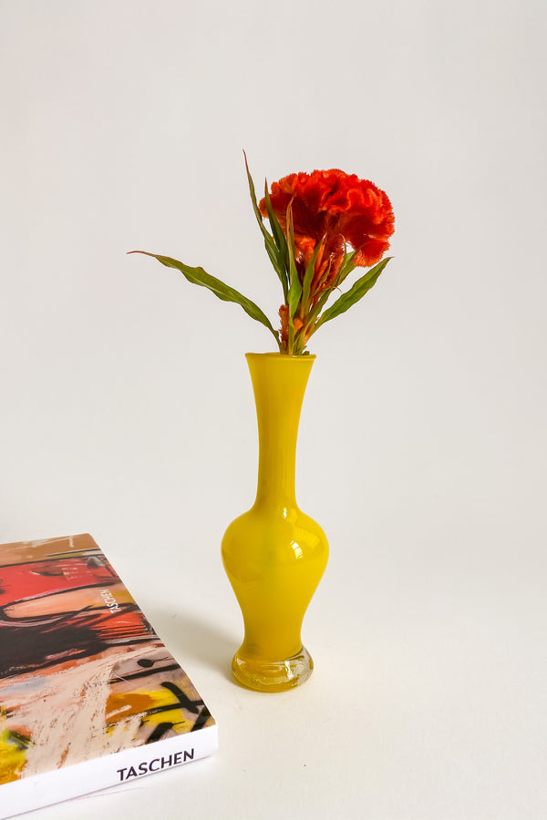 Yellow Hand Blown Bud Vase