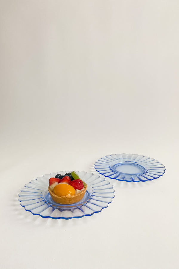 Blue Glass Scalloped Plates
