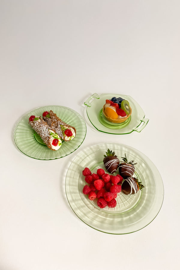 Deco Green Glass Plate Set