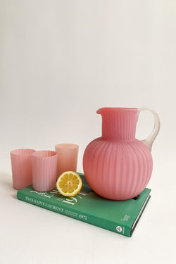Pink Frosted Pitcher & Glasses