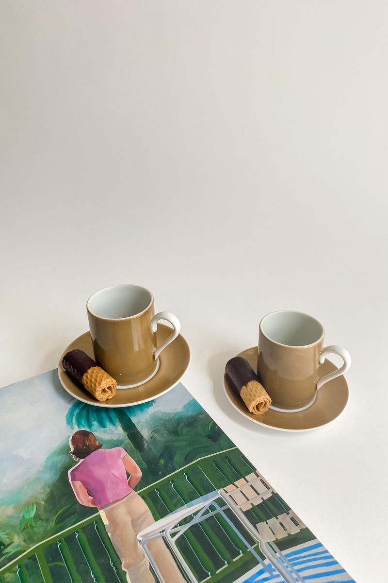 Mocha and White Demitasse Set