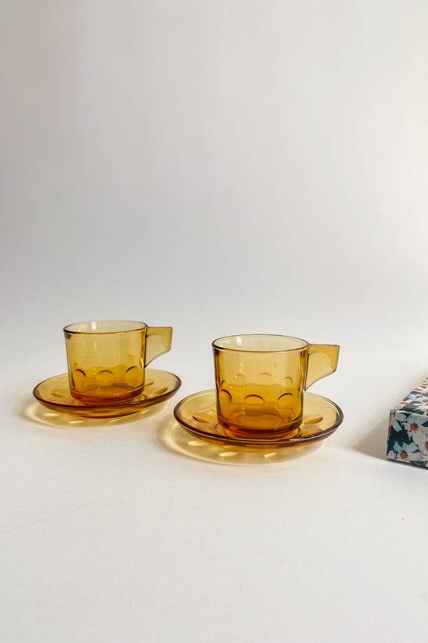Amber Glass Demitasse Set