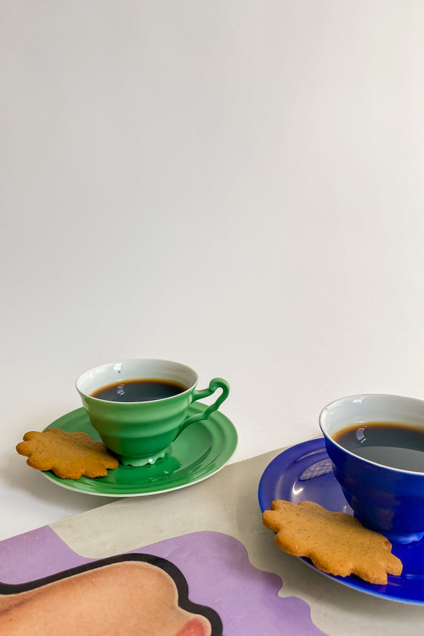 Cobalt and Kelly Green Tea Cup Set
