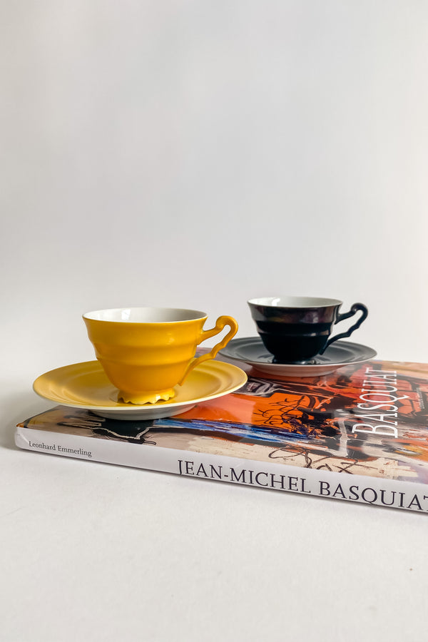 Yellow and Black Tea Cup Set