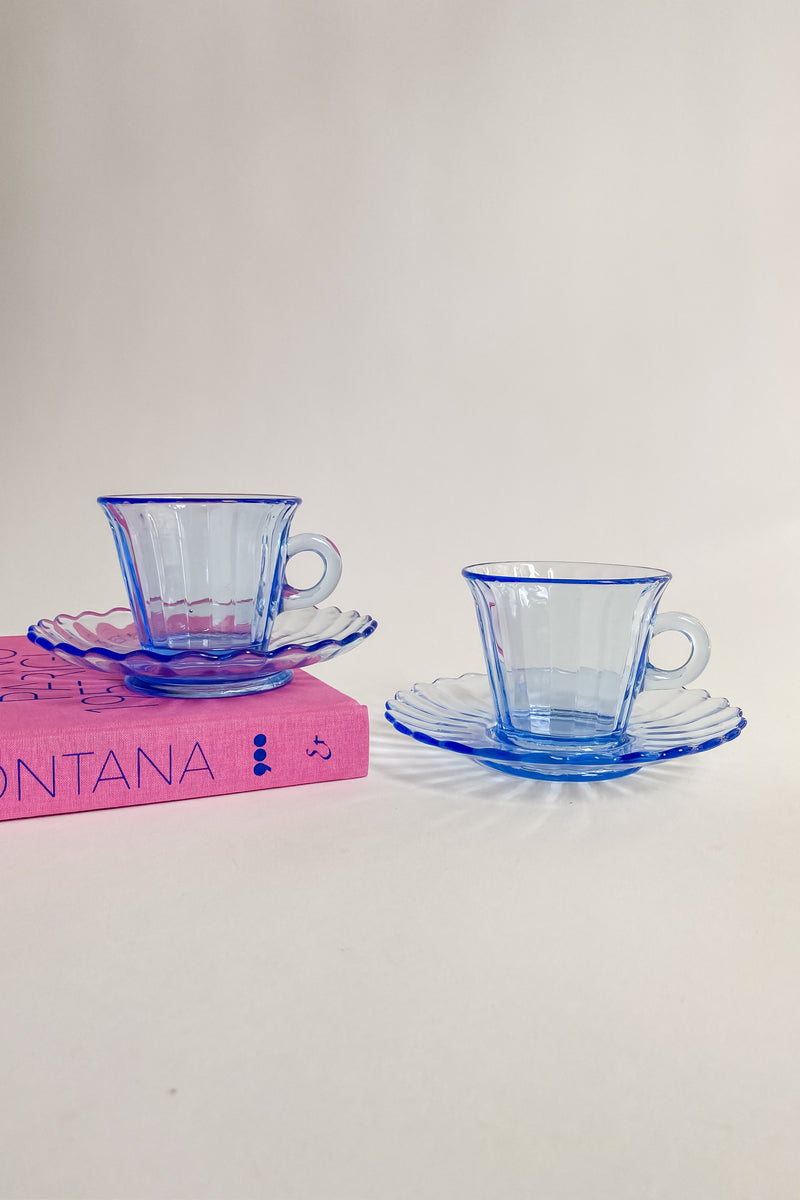Blue Scalloped Glass Coffee Set