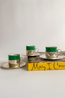 Emerald Green and Orange Silver Demitasse Set