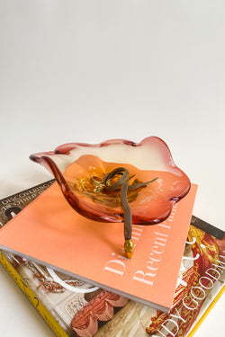 Pink and Amber Glass Petal Catchall