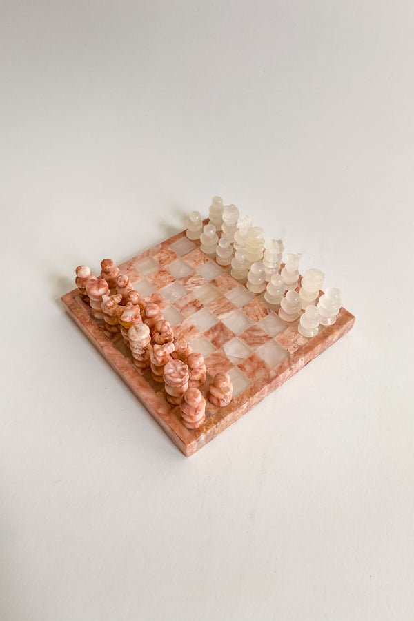 Mini Pink and White Chess Set