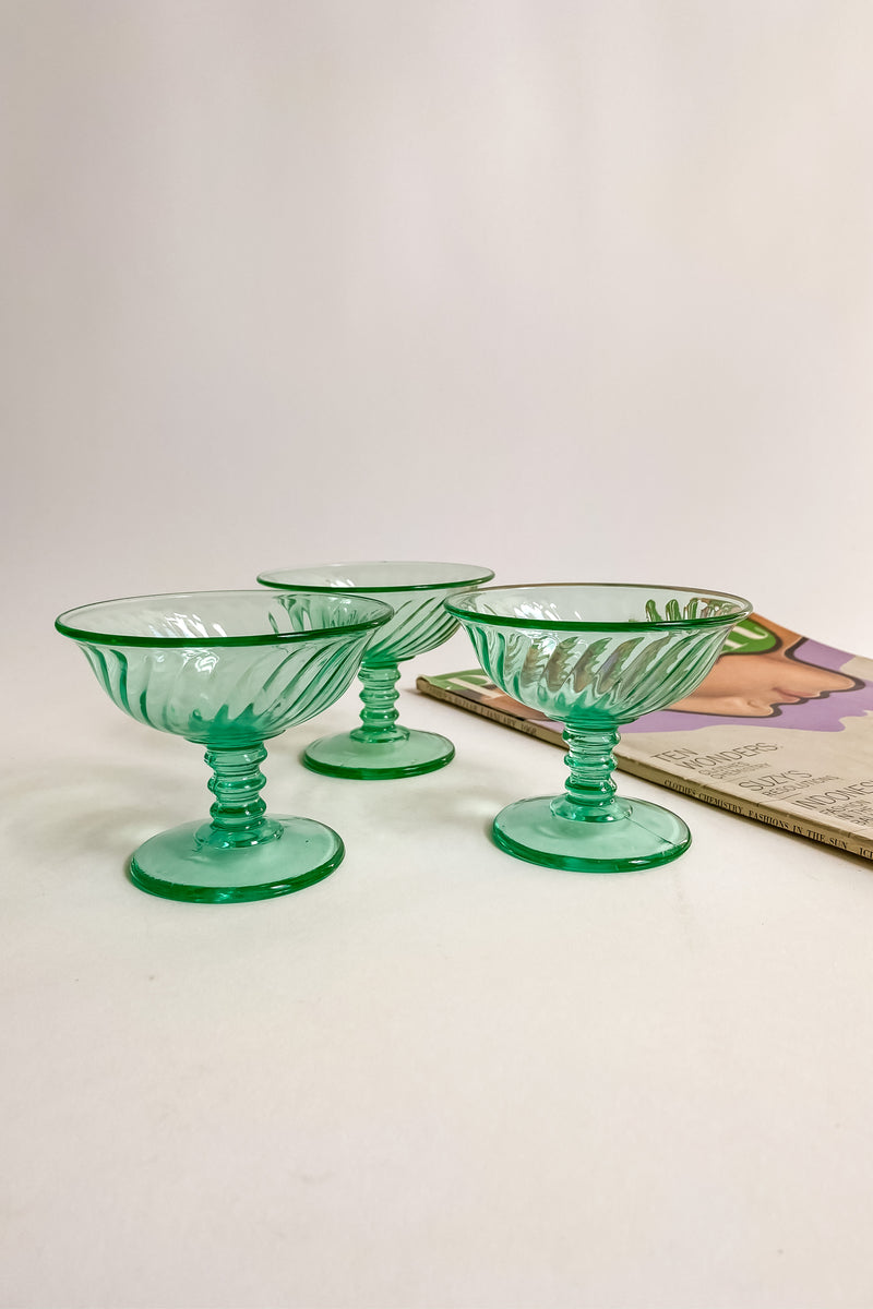Green Swirl Cocktail/Champagne Glasses