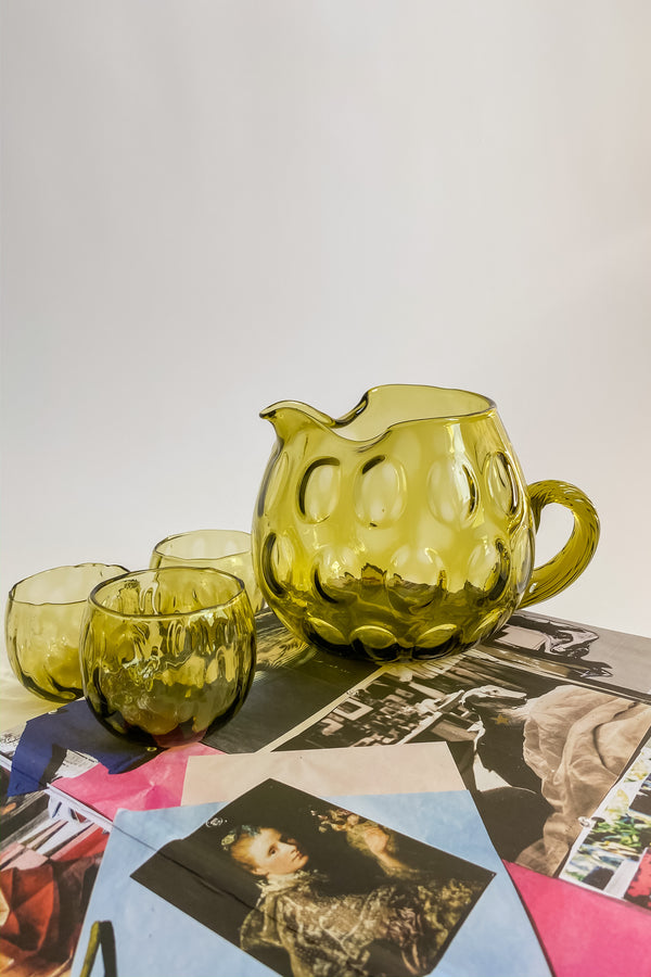 Olive Green Pitcher & Glasses