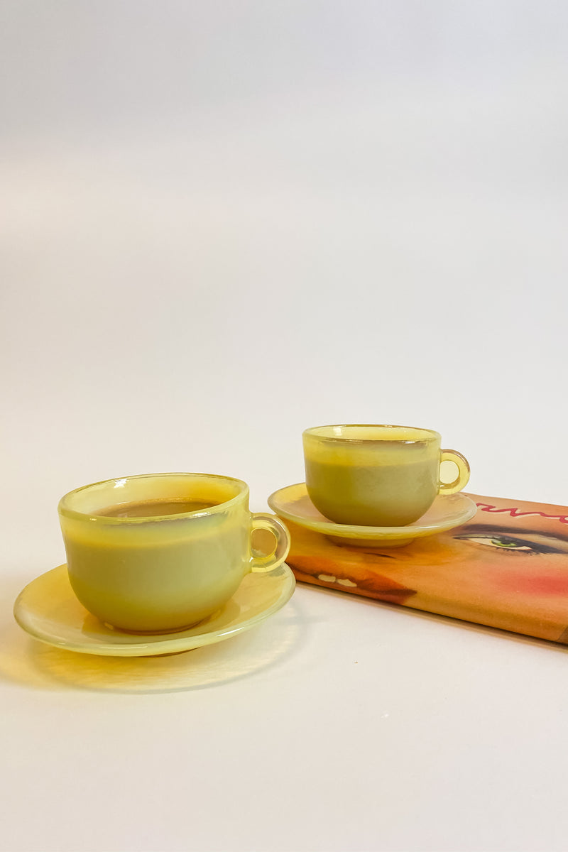 Opalescent Lemon Yellow Cup and Saucer Set
