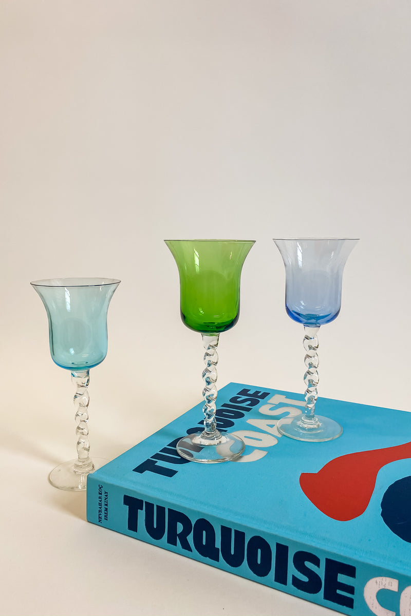 Set of Three Tri Color Champagne Glasses
