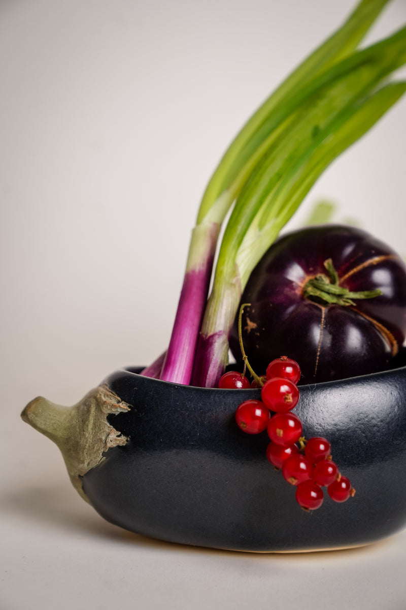 Eggplant Art Pottery Bowl