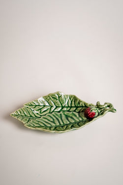 Ceramic Leaf Strawberry Dish