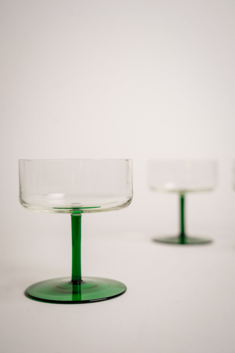 Emerald Stem Cocktail Glasses