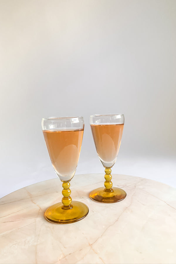 Amber Ball Stem Glasses