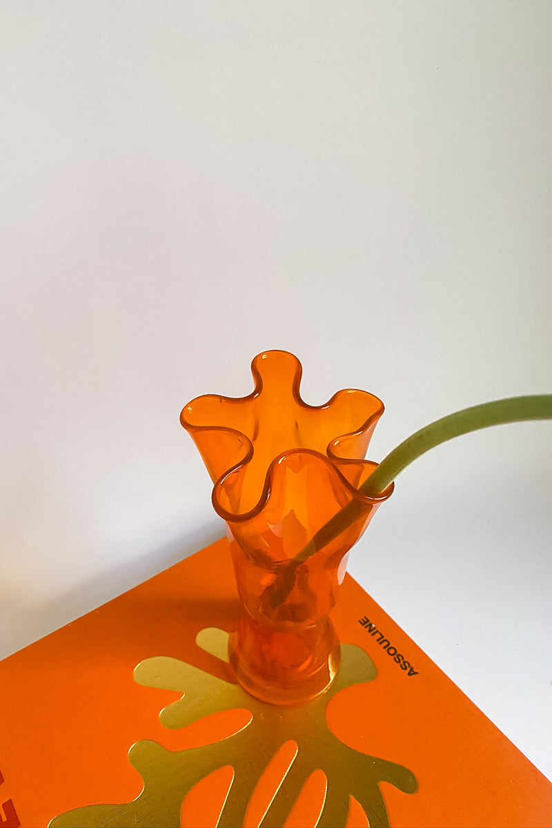 Orange Ruffle Vase