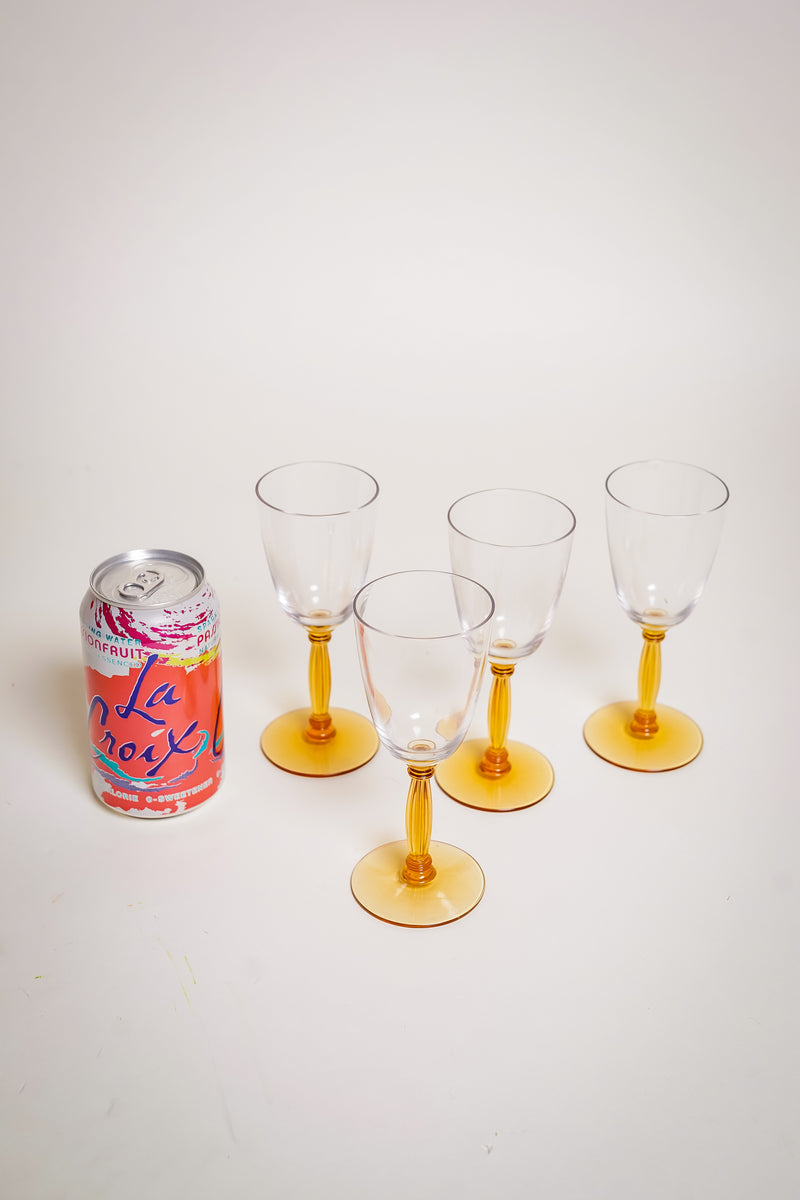 Amber Stem Wine Glasses