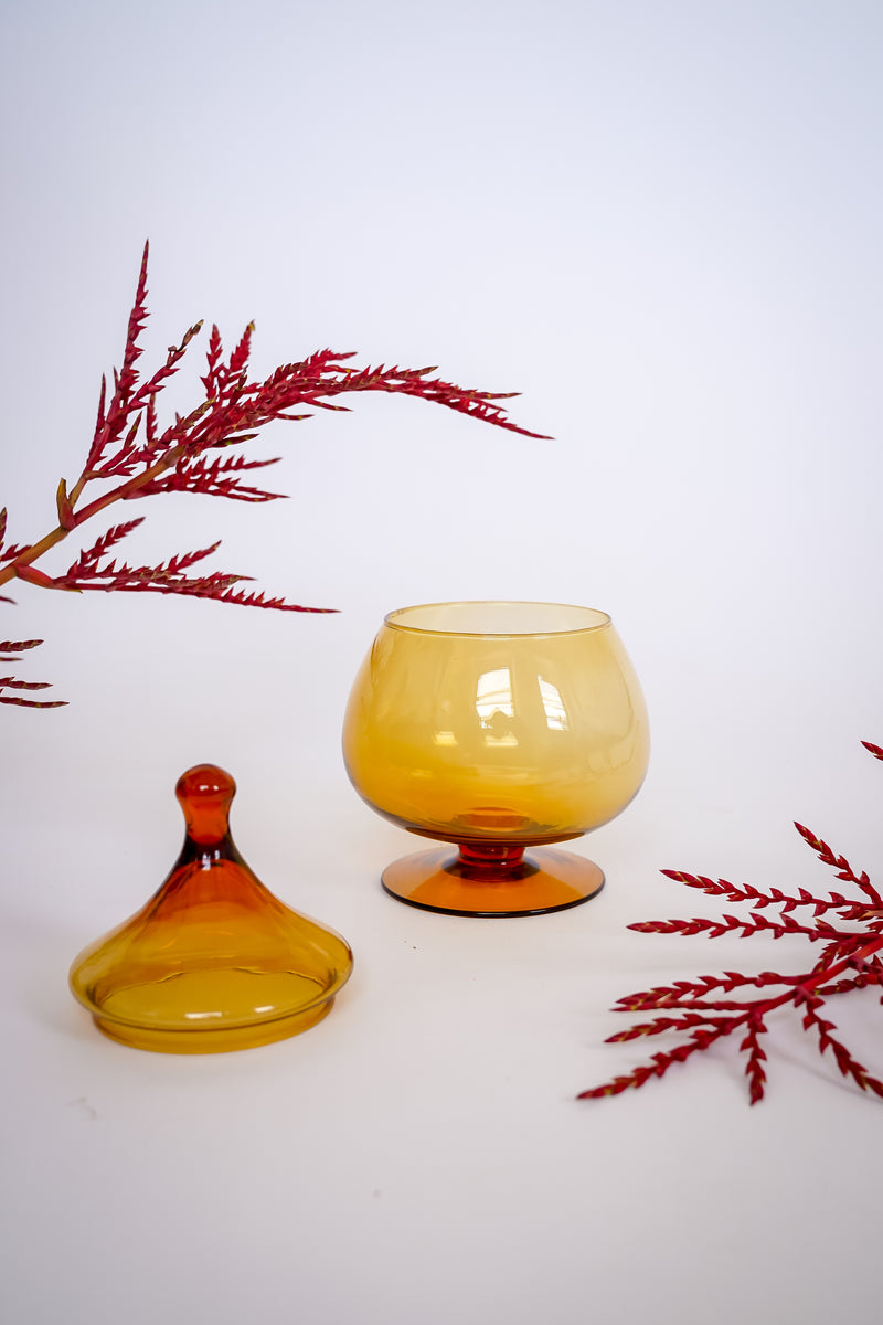 Amber Glass Pedestal Jar