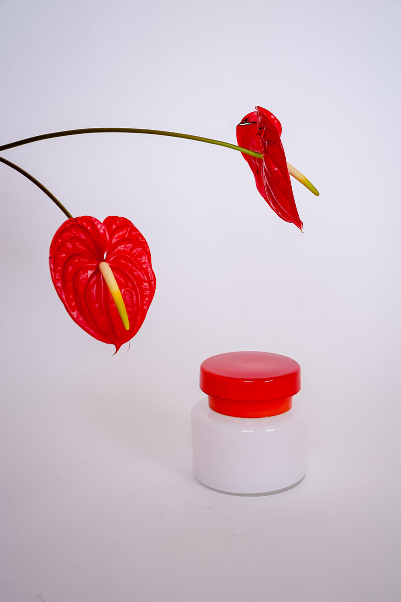 Red and White Glass Jar