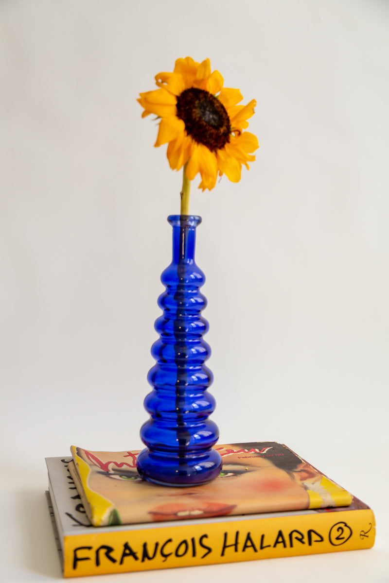Cobalt Blue Ribbed Vase