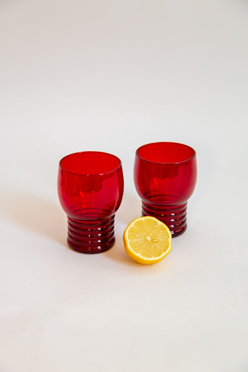 Deco Ruby Red Glass Tumblers