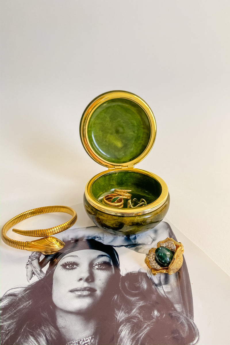 Green Alabaster Round Jewelry Box