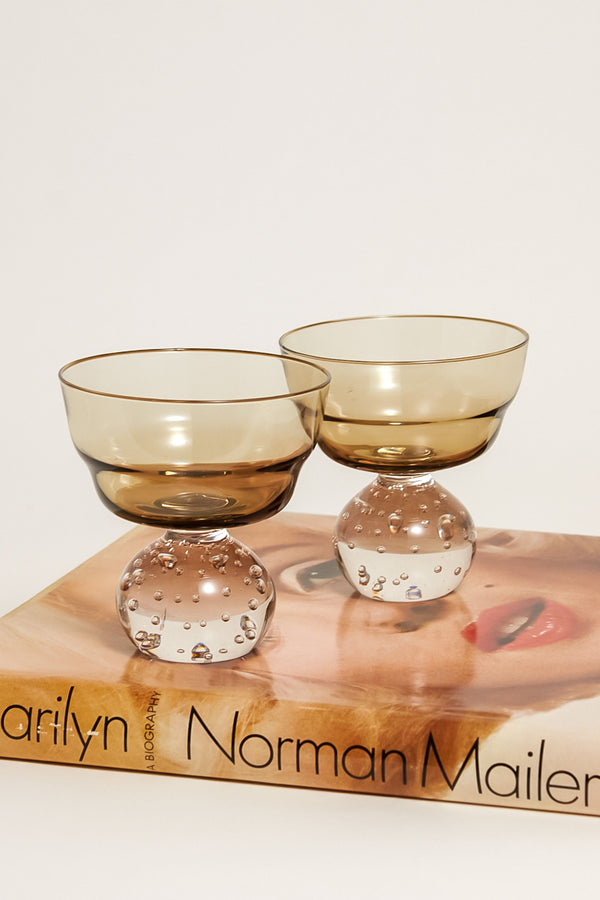 Large Smoky Bubble Base Cocktail Glasses