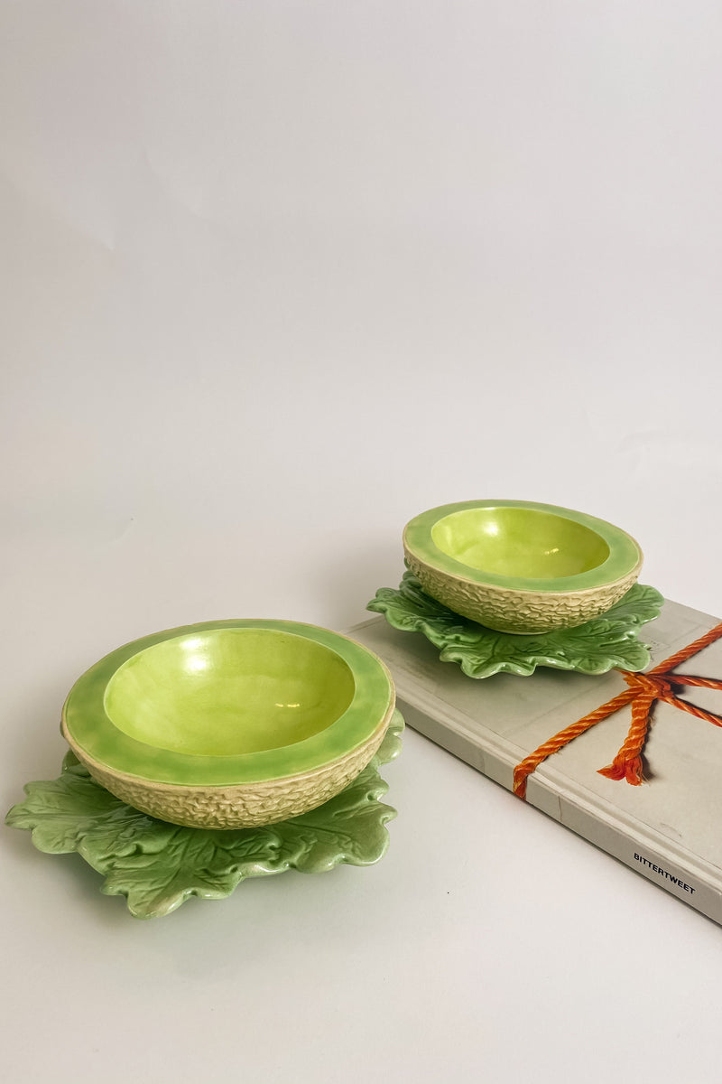 Ceramic Melon Bowls with Leaf Underplates