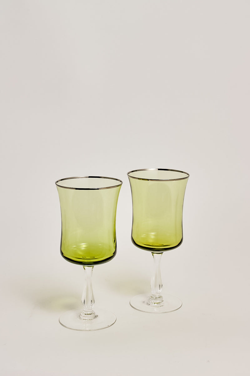 Pale Olive Wine Glasses