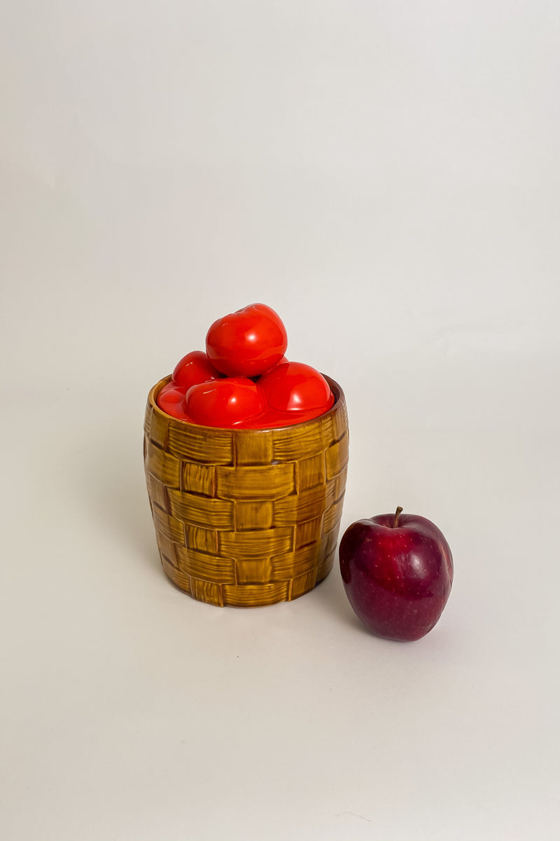 Apple Woven Basket Cookie Jar