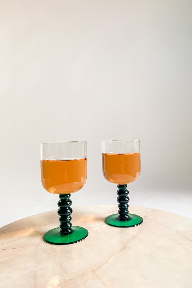 Emerald Ball Stem Glasses
