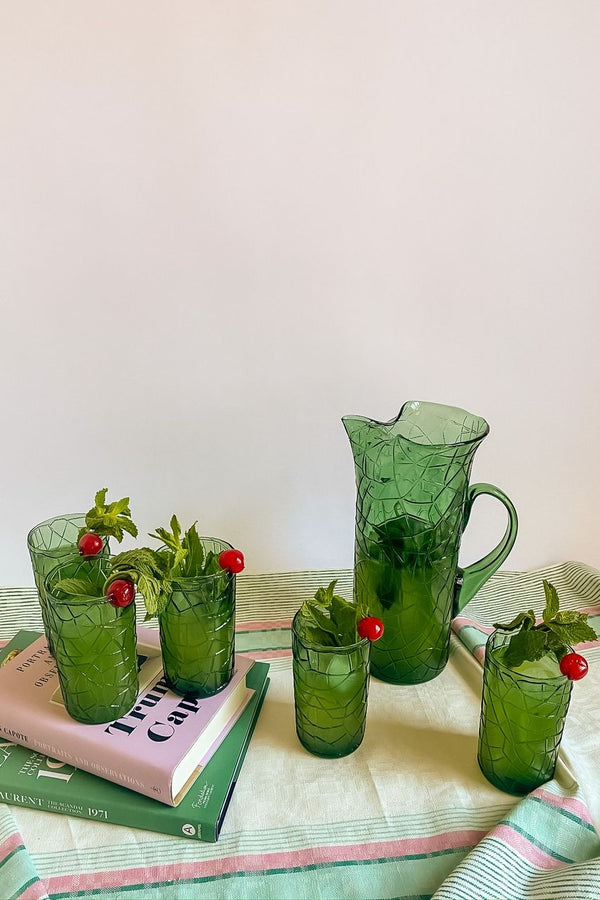 Sea Green Glass Pitcher Set