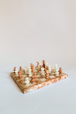 Mini Pink Marble Chess Set