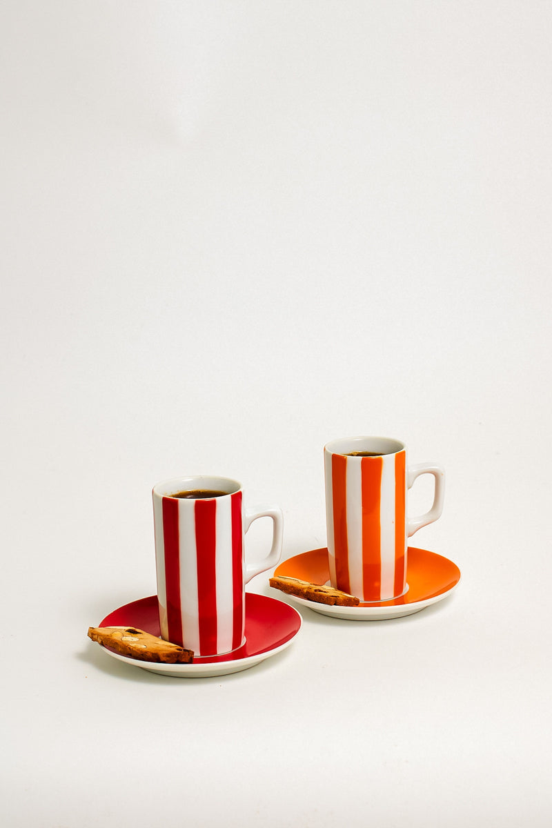 Crimson/Tangerine Striped Demitasse Set