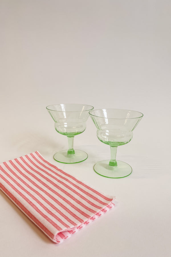 Green Glass Champagne Coupes
