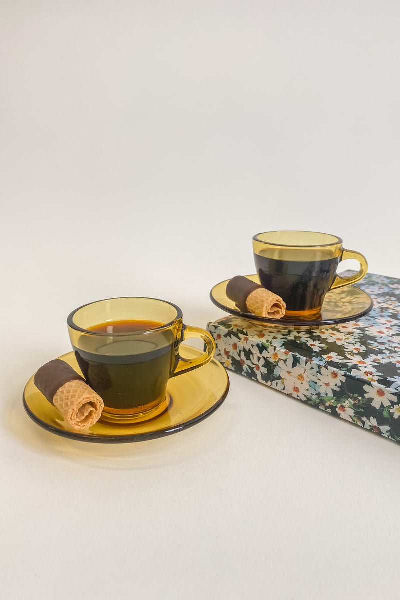 Italian Amber Glass Espresso Demitasse Set