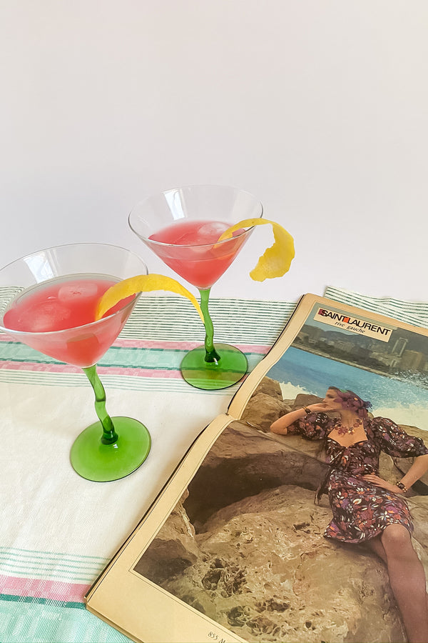 Wiggle Stem Martini Glasses