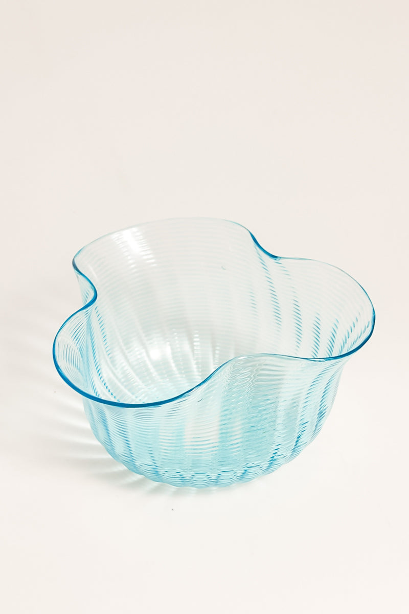 Victorian Sheer Blue Threaded Glass Bowl