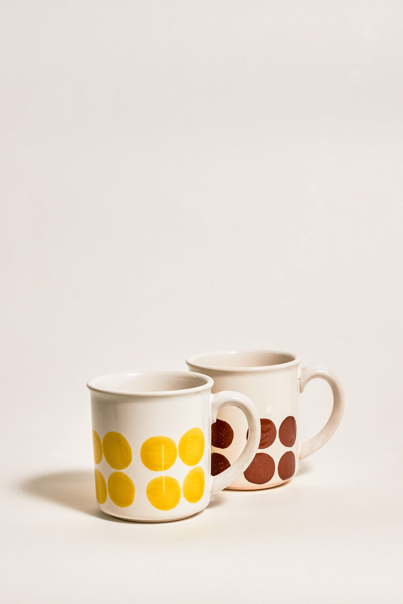 Japanese Mid Century Chestnut Brown/Mustard Mug Set