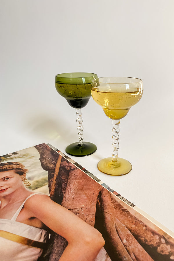 Amber and Peridot Twisted Stem Cocktail Glasses