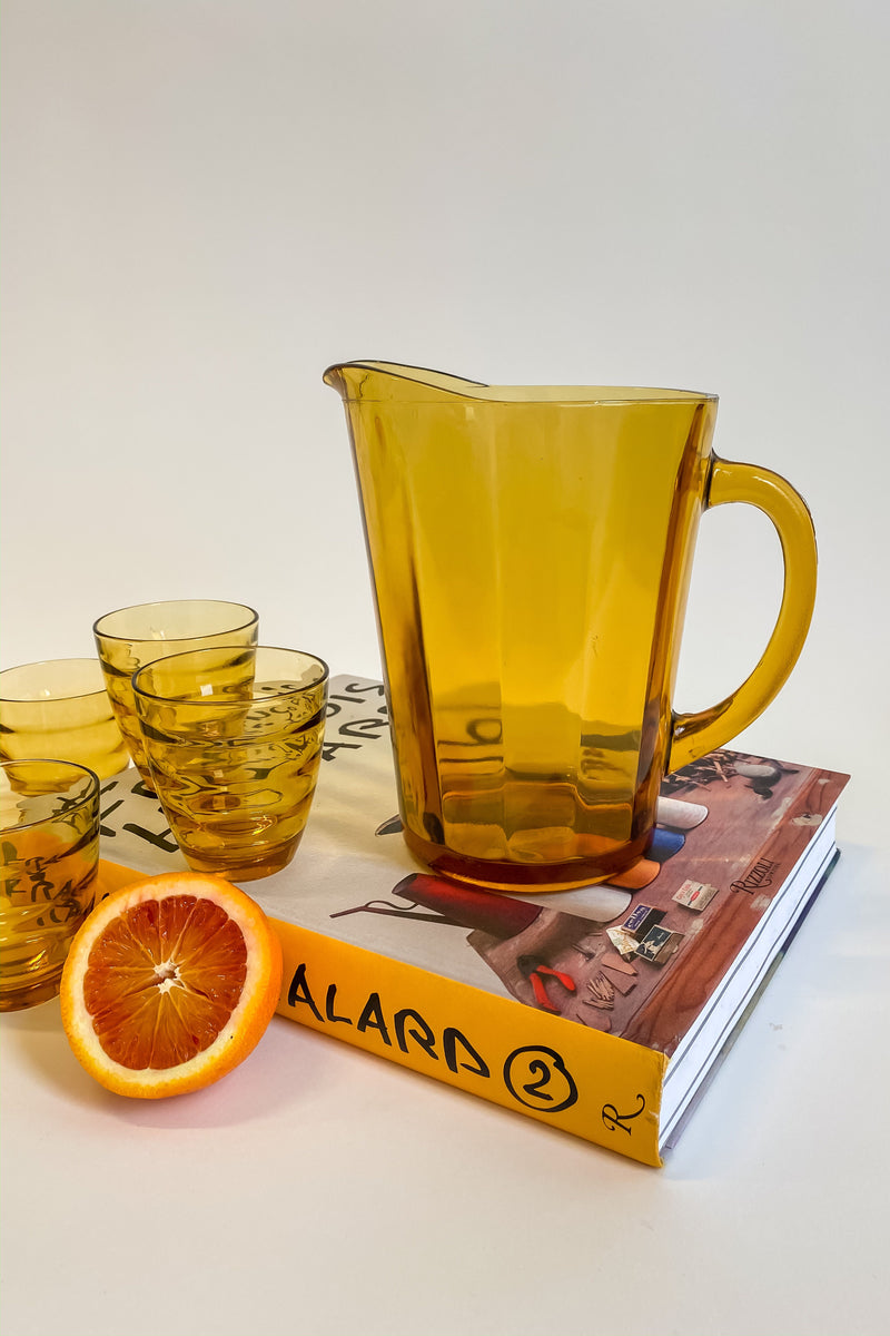 Amber Glass Pitcher Set